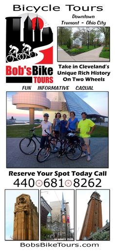 Bob's Bike Tours have been providing guided bicycle tours of Downtown Cleveland, Ohio City, Tremont, and surrounding areas since 2011. All tours include bicycle, helmet, water and FUN!!!