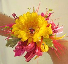 Yellow & Hot Pink Gerbera Daisy Wrist Corsage
