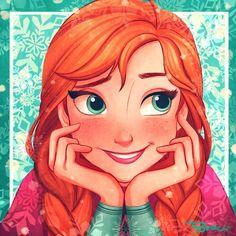 Princess Anna ❄️ I love this drawing. It's so cute!
