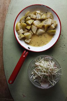 Butter-Braised Kohlrabi by Saveur. With its turniplike flavor, this member of the cabbage family takes well to a slow simmer on the stove with chicken stock, butter, and thyme. Serve this dish with roast chicken or grilled pork chops. Kohlrabi Recipes, Surimi Recipes, Endive Recipes, Mackerel Recipes, Gourmet Recipes, Vegetarian Recipes, Cooking Recipes, Healthy Recipes, Keto Recipes