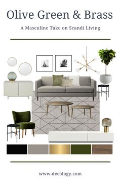 City Chic- Our interior designers have put together a masculine take on scandi living using a monochrome palette with accents of green, gold, beige and wood. This look is perfect for a compact modern Beige Living Rooms, Living Room Accents, Living Room Color Schemes, Living Room Green, Living Room Designs, Grey Couch Rooms, Living Room Decor Grey Sofa, Grey Sofa Decor, Grey Living Room With Color