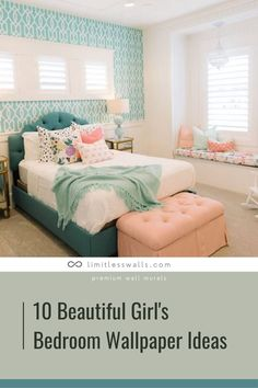 Whether your child is a lover of all things floral or polka dots, whether she's a toddler or teen, we have top 10 most beautiful girl's bedroom wallpaper ideas. Tap to read the article. | Limitless Walls - Premium Wall Murals Wallpaper Design For Bedroom, Designer Wallpaper, Bedroom Decorating Tips, Wall Murals, Sweet Home, Mural Ideas, House Design, Walls, Furniture