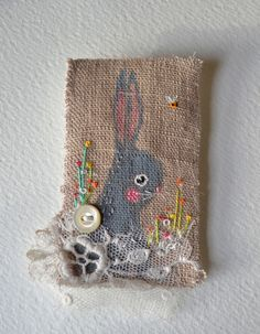 BROOCH - Bunny hand painted and embroidered by hensteeth on Etsy