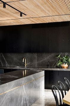 Pietra Grey marble kitchen island, backsplash and countertop in a house by Chamberlain Architects. Modern Kitchen Design, Interior Design Kitchen, Interior Modern, Modern Design, Marble Interior, Home Interior, Kitchen Designs, Home Decor Kitchen, Kitchen Furniture