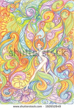 Elf Girl flying from flower to flower, drawing with colored pencils. Colored floral patterns on paper background.