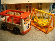 Vintage Fisher Price Toys Lot of 3 Schoolhouse Mini Bus and Swingset   eBay