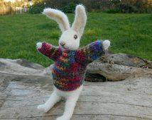 Little white rabbit with handknitted sweater - needle felted bunny soft sculpture. spring woodland decoration
