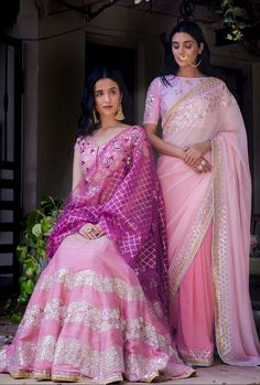 Pretty pink saree and lengha