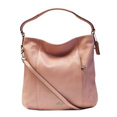 Coach Pebbled Leather Hobo Shoulder Handbag Blush. Inside zio, cell phone and multifunction pockets. Zip closure, fabric lining. Handles with 11 drop. Outside zip pocket. 13 1/2(l) × 12 3/4 (h) × 4 (w).
