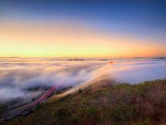 San Francisco Golden Gate Bridge through fog (© Ali Erturk/Solent News/Rex Features)