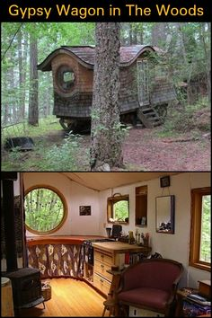Could you live in a gypsy wagon? Could you live in a gypsy wagon? Cabana, Gypsy Trailer, She Sheds, Gypsy Life, Tiny Living, Gypsy Living, Tiny House On Wheels, House In The Woods, Backyard