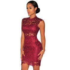 Sexy Burgundy Bandage Lace Dress //Price: $29.66 & FREE Shipping //     #fashion
