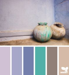 Potted Hues - blues, turquoise and brown
