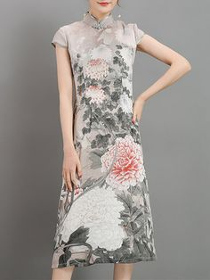 Vintage Women Printed 3/4 Sleeve Chinese Style Maxi Dresses Shopping Online - NewChic Mobile.