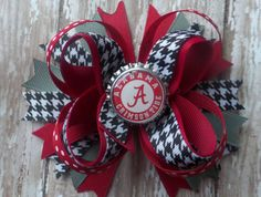 ALABAMA hair bow headband Crimson Tide Roll by CicisBowBoutique