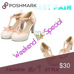 "💲⬇PRICE DROP ⬇💲TStrap Bows Platform Pumps These beautiful retro looking shoes will spice up any look. Women in the 50's love the look of sophistication, these shoes say it all.  -rubber sole -Platform measures approximately .50"" -Patent Leather Manmade Material -Heel Height: 3"" -Shoes Wide: Medium Shoes Heels"