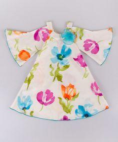 White & Fuchsia Floral Bell-Sleeve Dress - Toddler & Girls
