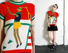 Vintage 80s 90s Indie KITSCH Hipster BADMINTON Knit Tank Sweater on Etsy, $48.00