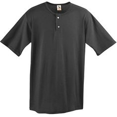 Augusta Sportswear Men's Two Button Short Sleeve Baseball Jersey. 580 Description   50% polyester/50% cotton jersey knit, 1x1 rib-knit collar, Set-in sleeves, Two-button placket, Double-needle hemmed sleeves and bottom. G0tApparel