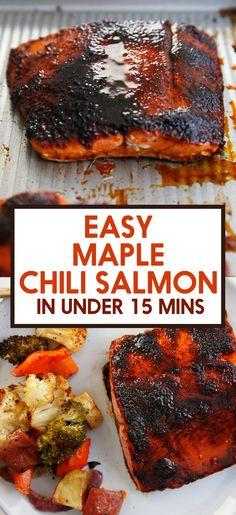 Lexi's Clean Kitchen | Chili Maple Glazed Salmon Baked Teriyaki Salmon, Baked Salmon Recipes, Easy Chicken Recipes, Fish Recipes, Easy Dinner Recipes, Seafood Recipes, Beef Recipes, Cooking Recipes, Dinner Ideas