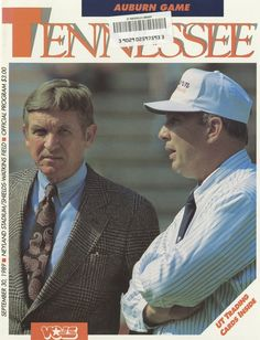 The Tennessee Football Programs: 1989 Football Program - UT vs Auburn Ut Football, Tennessee Football, University Of Tennessee, Football Program, College Football, Neyland Stadium, Tn Vols, Bluetick Coonhound, Tennessee Volunteers