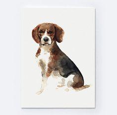 Pies rasy beagle Art Print Zwierzęta Ilustracja reprodukcja ColorWatercolor