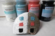 Painting Rock & Stone Animals, Nativity Sets & More: How Waverly Semi-Gloss Paints Performed on a Rock Paint Pens For Rocks, Painted Rocks Craft, Hand Painted Rocks, Acrylic Craft Paint, White Acrylic Paint, Stone Painting, Rock Painting, Semi Gloss Paint, Apple Barrel