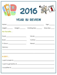 A free printable Year in Review for kids to fill out. Great family activity for New Year's Eve and a fun keepsake to pull out in future years.