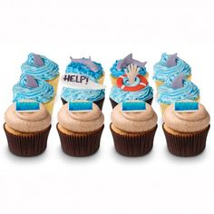 shark week cupcakes !  no recipe, but good inspiration for decor on top