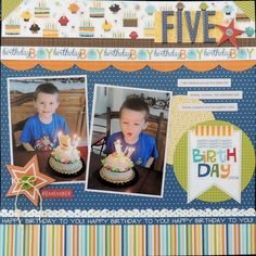 birthday scrapbook layouts | Five - Scrapbook.com | Scrapbook Layouts - Birthday