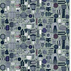 With a pattern of vegetables, flowers and mushrooms, Maija Louekari has captured summer in this fabric from Marimekko. Choose between different colors.