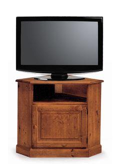Porta tv rustico ad angolo in legno massello di pino di Svezia. www.arredamentirustici.it