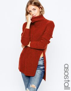 Image 1 of ASOS TALL Jumper In Brushed Yarn With High Neck and Side Splits