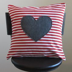 red and white striped pillow cover with gray appliqued heart, valentines day decor. $28.00, via Etsy.