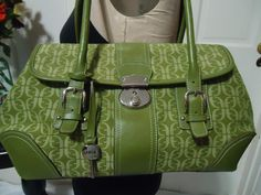"Fossil LG Green ""Signature"" Canvas Purse w Double Straps Silver Hardware"
