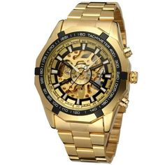 Mens Skeleton Mechanical Watch Brand Stainless Steel Band with Gift Box Men''s Fashion Sport Watches Hollow Out Wristwatch Skeleton Mechanical Watch, Skeleton Watches, Stainless Steel Watch, Stainless Steel Bracelet, Winner Watches, Bling Bling, Luxury Watches For Men, Sport Watches, Men's Watches