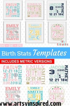Six birth stat templates for crafting keepsake gifts for new moms. Use as nurser… Six birth stat templates for crafting keepsake gifts for new moms. Use as nursery decor and baby book covers. Birth Announcement Template, Birth Announcements, Baby Memories, Baby Birth, Birth Gift, Gifts For New Moms, Free Baby Stuff, New Baby Products, Nursery Decor