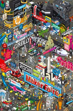 """eBoy dovrebbe essere in realtà eBoys, perchè dietro questo nome si celano Steffen Sauerteig, Svend Smital e Kai Vermehr, tutti e 3 di Berlino. Sul loro sito ci dicono soltanto che loro fanno oggetti in pixel-art """"riutilizzabili"""" coi quali creano complicati complessi (perdonate il gioco di parole) urbani e toys."""