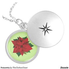 Poinsettia Round Locket Necklace