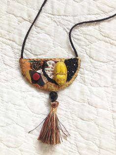 Yellow Scorpio Textile Pendant by PATRIZIAFERREIRA on Etsy