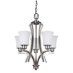 Flamenco Brushed Pewter Five-Light Chandelier with White Flat Opal Glass