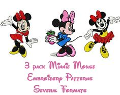 3 pack modèle-plusieurs formats de Design de broderie Minnie Mouse - téléchargement immédiat