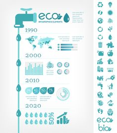 Water Saving Infographic Vector Template.
