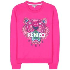 Kenzo Embroidered Cotton Sweatshirt ($170) ❤ liked on Polyvore featuring tops, hoodies, sweatshirts, sweaters, shirts, sweatshirt, jumpers, pink, kenzo sweatshirt and kenzo
