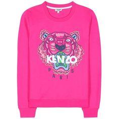Kenzo Embroidered Cotton Sweatshirt (€215) ❤ liked on Polyvore featuring tops, hoodies, sweatshirts, jumper, sweaters, sweatshirt, pink, embroidered cotton top, cotton sweatshirts and kenzo