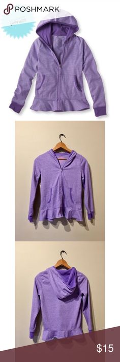 DISCOUNTED SHIPPING LL Bean Girls Zip Hoodie Add to a bundle for discounted shipping! You don't have to have more items included for discounted ship, you can just buy this singular item. Like New Condition  LL Bean Girls Purple Heather Full Zip Hoodie Cute skirt detail at the bottom Size kids M Smoke-Free and pet-free Home! L.L. Bean Shirts & Tops Sweatshirts & Hoodies