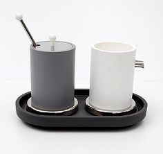 Plastic / stainless steel sugar cream set ES10 design Ettore Sottsass 1998 executed by Alessi / Italy