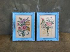Vintage Framed Needlepoints  Upcycled Wall Art  by TimelessNchic, $19.95