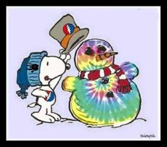 ☮ American Hippie Holiday ☮  Christmas .. Tie Dye Snowman Grateful Dead Snoopy