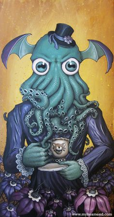 Octopus head on a gothic lady drinking tea, not to mention a tiny top hat? How could it get any better than that?